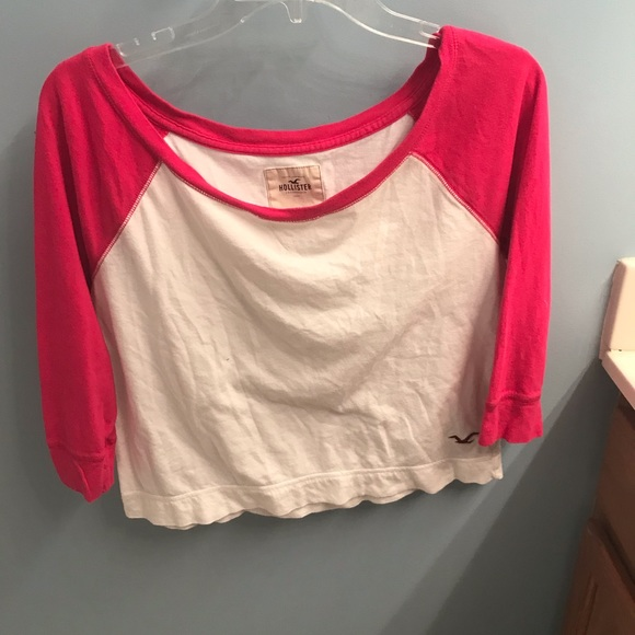 Hollister Tops - Pink and white baseball tee